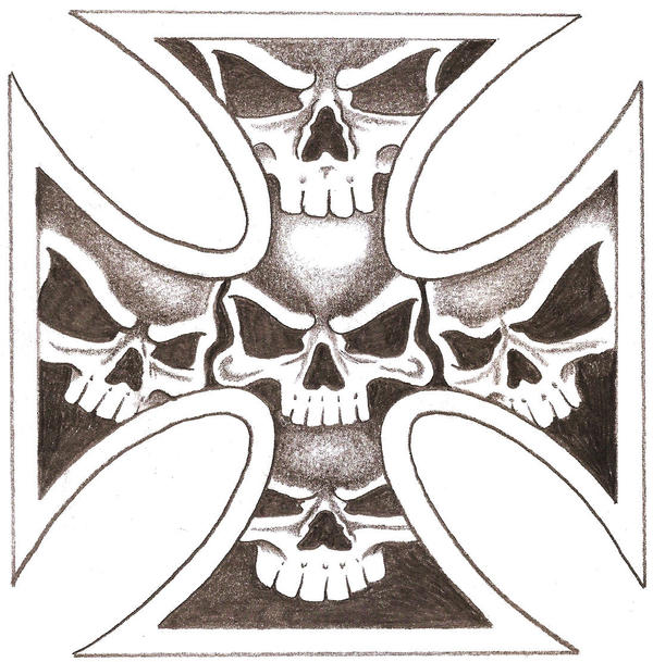 Iron Skull Cross by TheLob on DeviantArt Skull And Cross Drawing