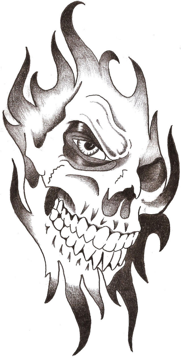 This is a picture of Persnickety Tribal Skull Drawing