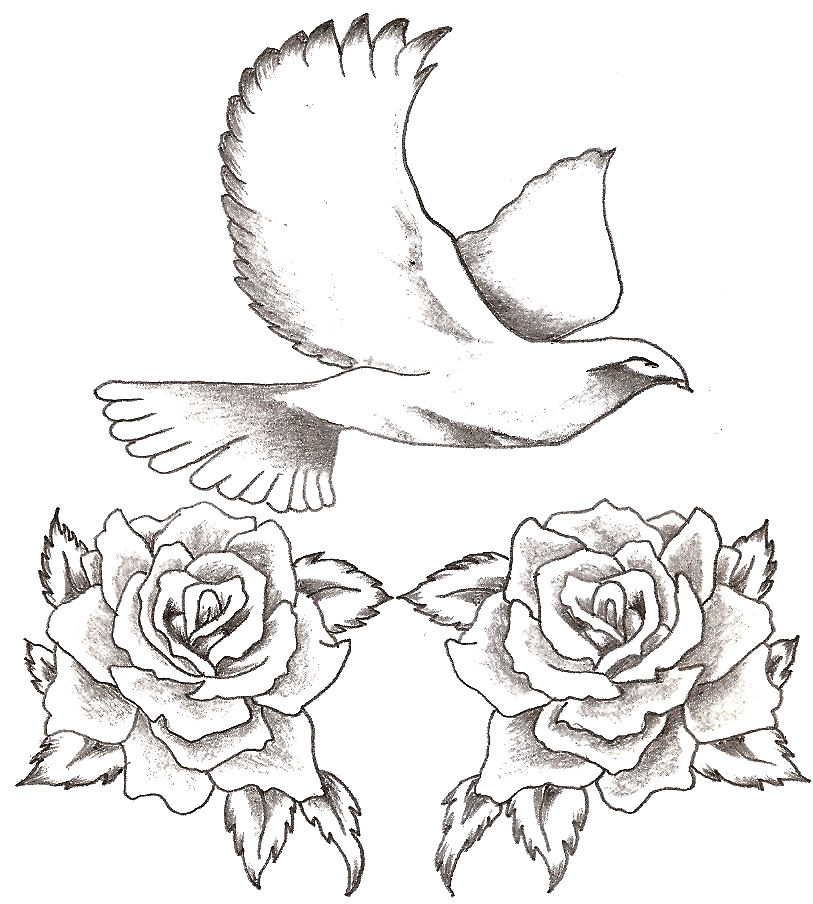 Dove and roses by thelob on deviantart for Dove and rose tattoo