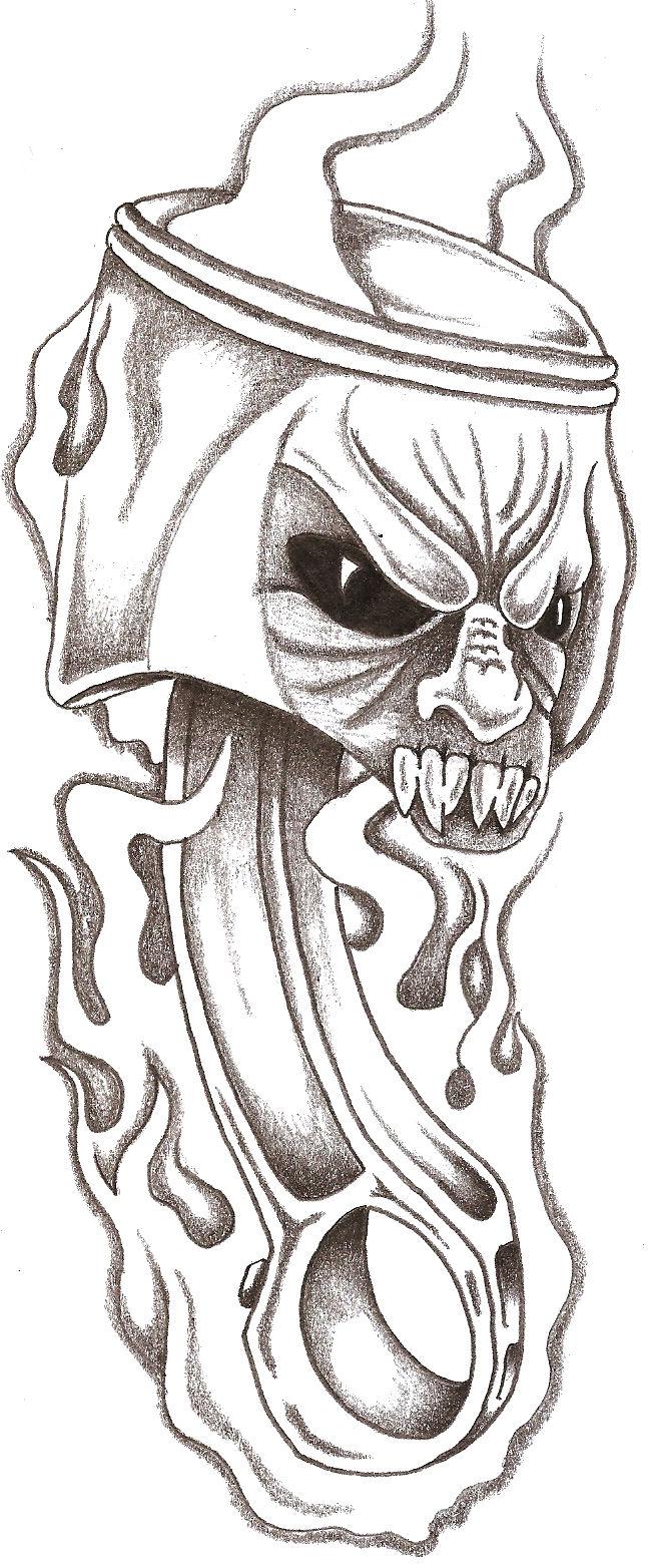 Skull Piston Drawing Piston Tattoo Drawing