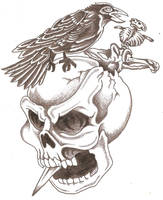 Skull Dagger Crow by TheLob