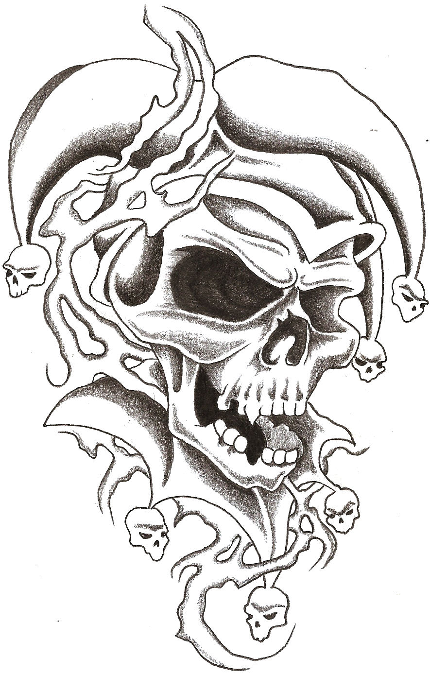 skull jester 1 by thelob traditional art drawings other 2009 2015 ...