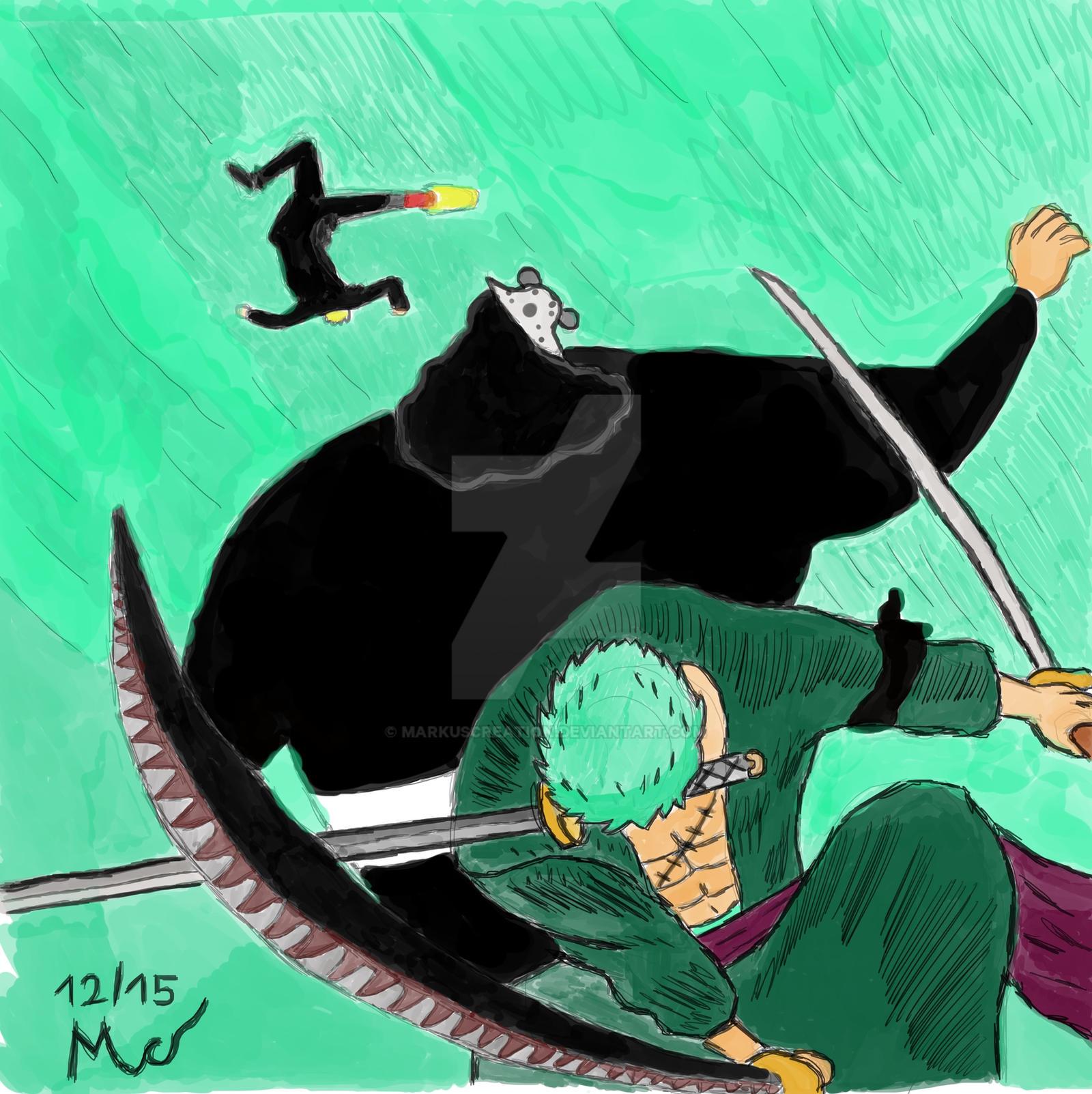 One Piece Fanart Zoro Sanji Vs Pacifista Kuma By Markuscreation On Deviantart