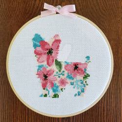 Floral Yorkshire Terrier Cross-Stitch