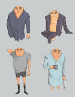 Gru Pj Sketches by TheFishAndTheBird