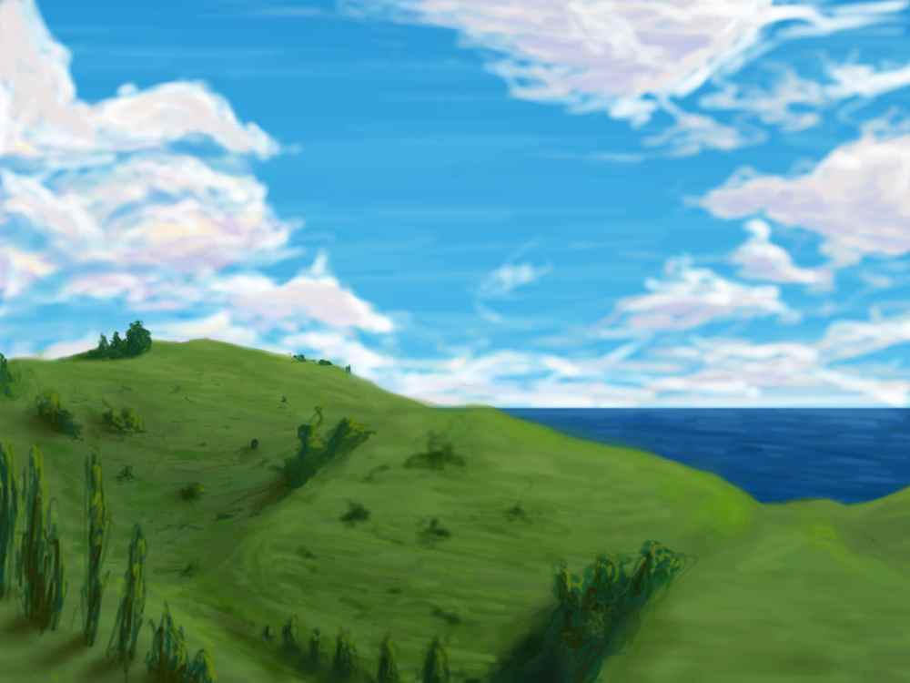 Hill and clouds wip by sumopiggy