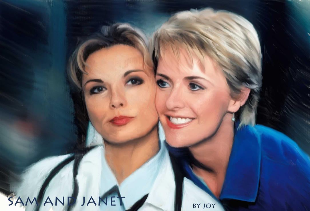 Sam Carter and Janet Fraiser painting, SG-1 by riverfox1