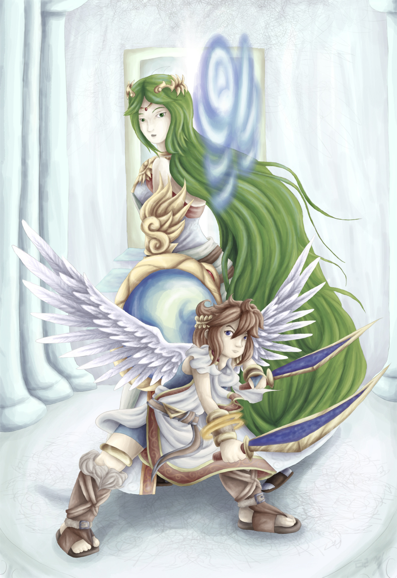 Palutena And Dark Pit Kiss