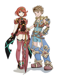 Pyra and Rex by Lady-of-Link