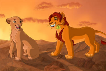 Sarabi and Mufasa at Sunset by dukacia
