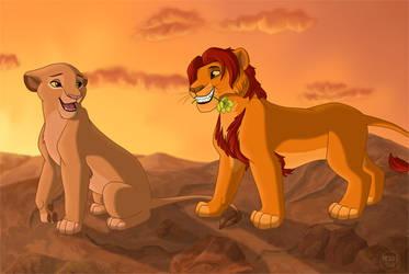Sarabi and Mufasa at Sunset by dukacia