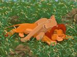 Simba and Nala snoozing