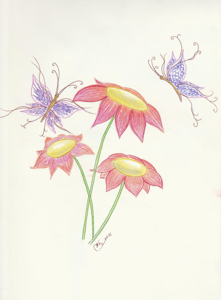 Sketch of flowers (colored) by getupp