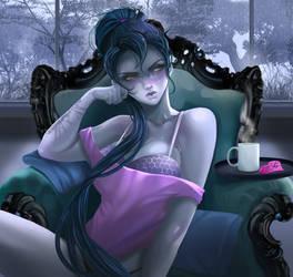 Widowmaker sad morning by AmeDvleec