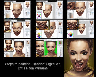 Steps To Digital Painting of Artist 'Tinashe' by LaikenDesignz