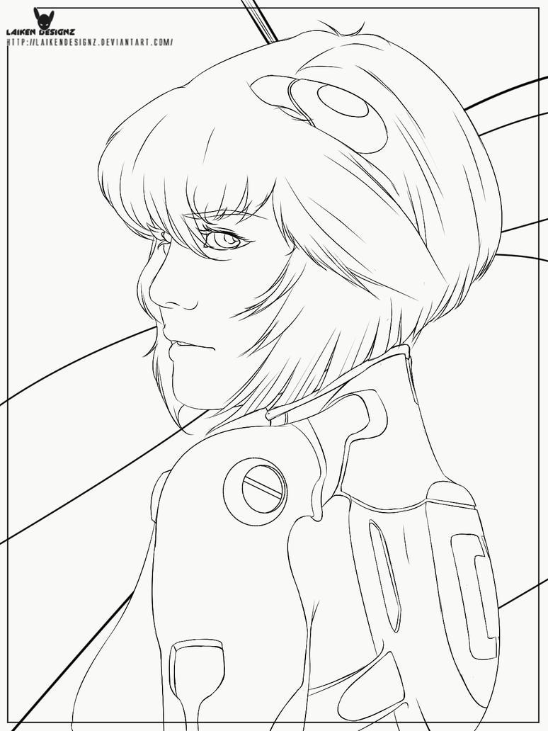 Rei Ayanami Neon Genesis Evangelion Line Work by LaikenDesignz