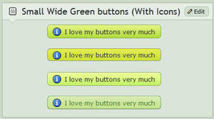 Small wide Green buttons (With icons)