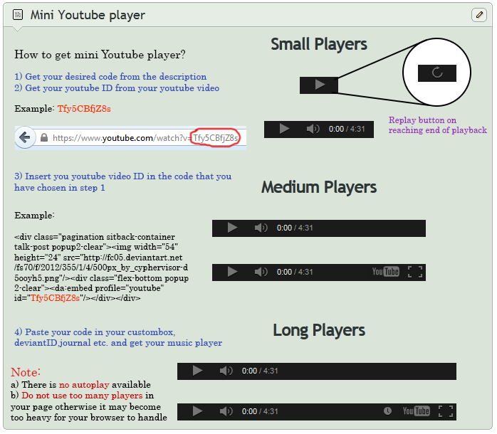 Mini Youtube Player embeddable code by CypherVisor on DeviantArt
