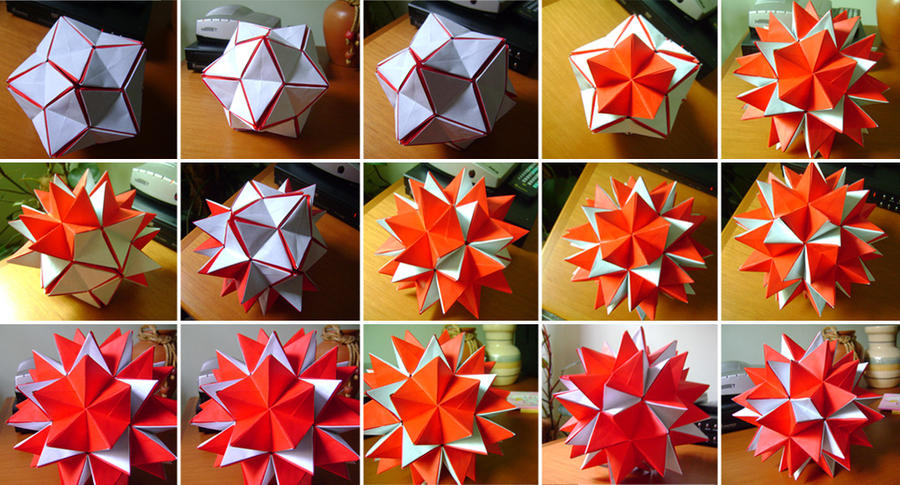 Origami 3d star open process by mbarollo on deviantart for 3d star net
