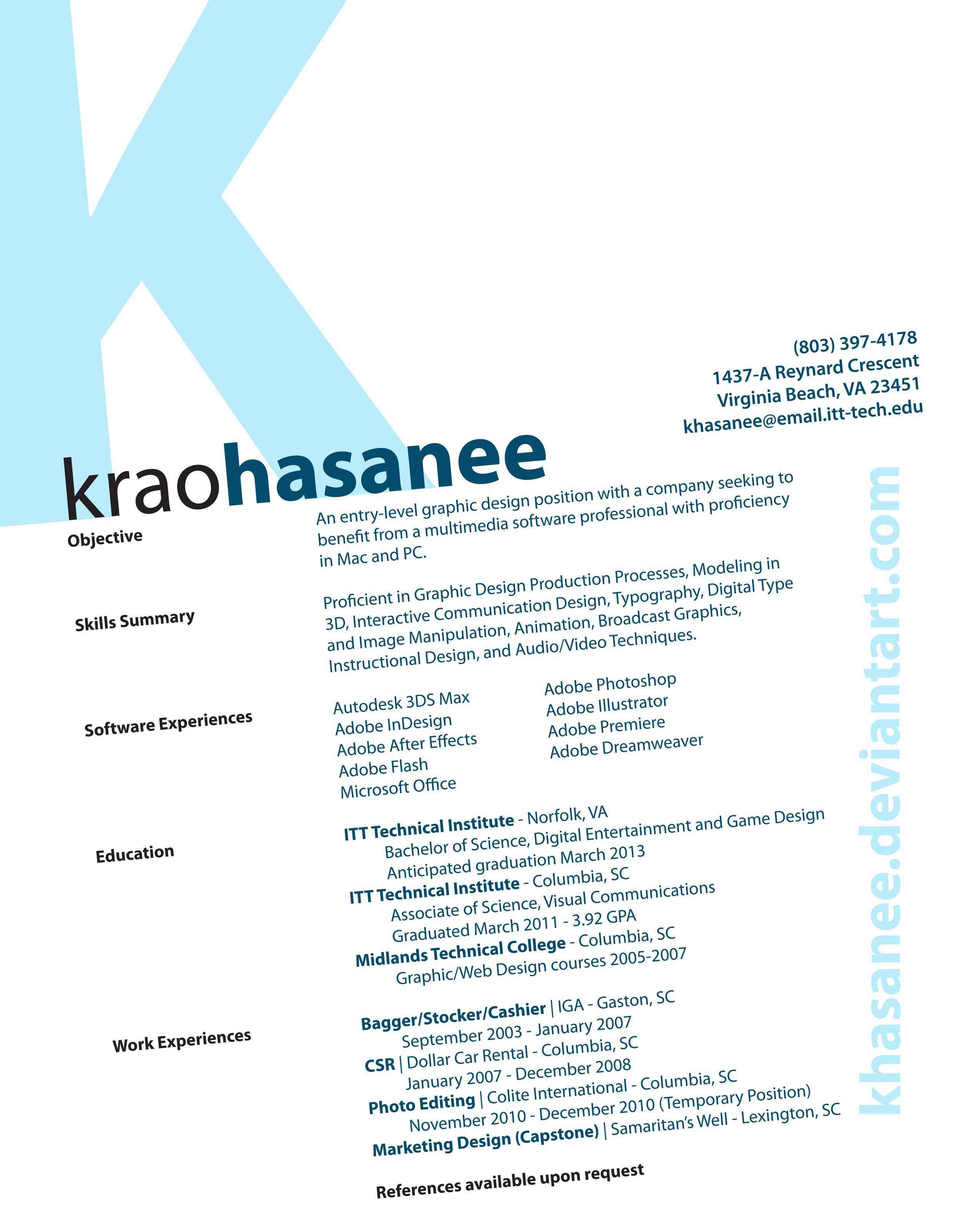 Resume by khasanee on DeviantArt