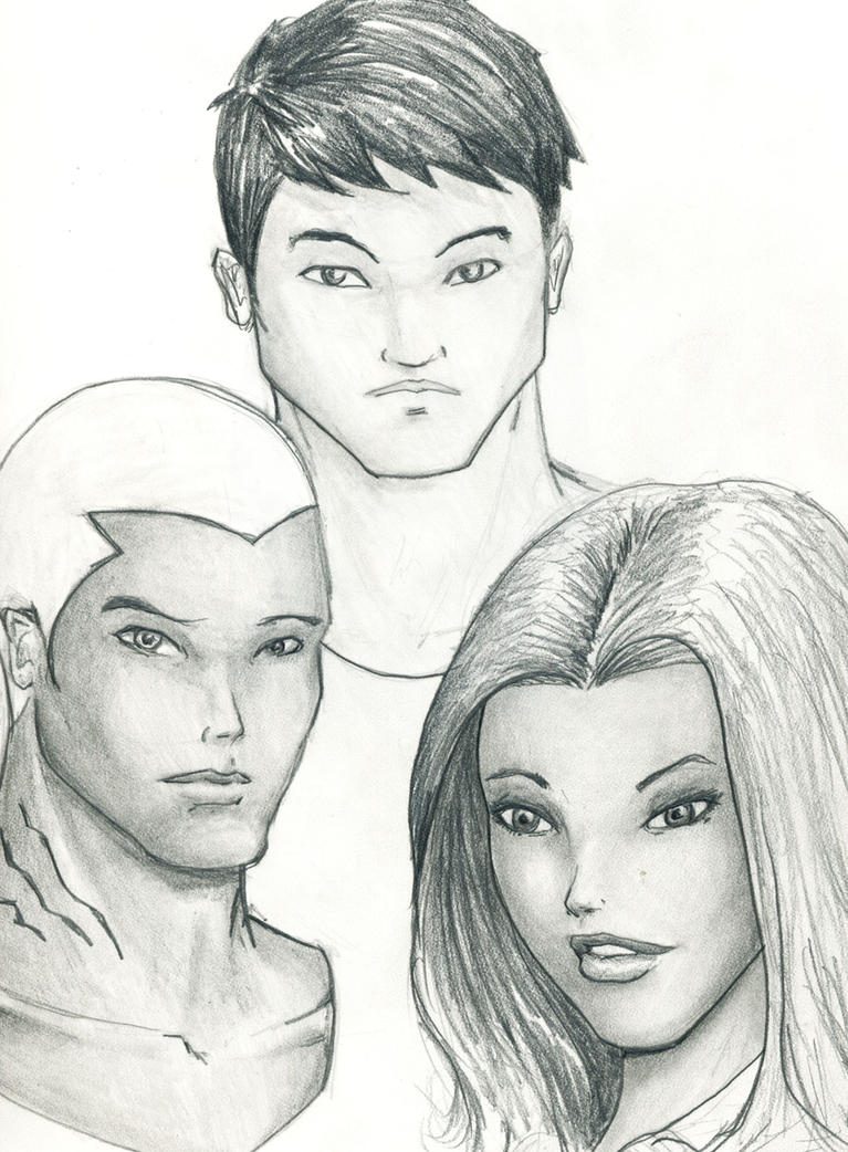 Connor, Kal'dur, and M'gann by justchrishere