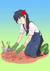 Gema Taku in gardening (Commission)