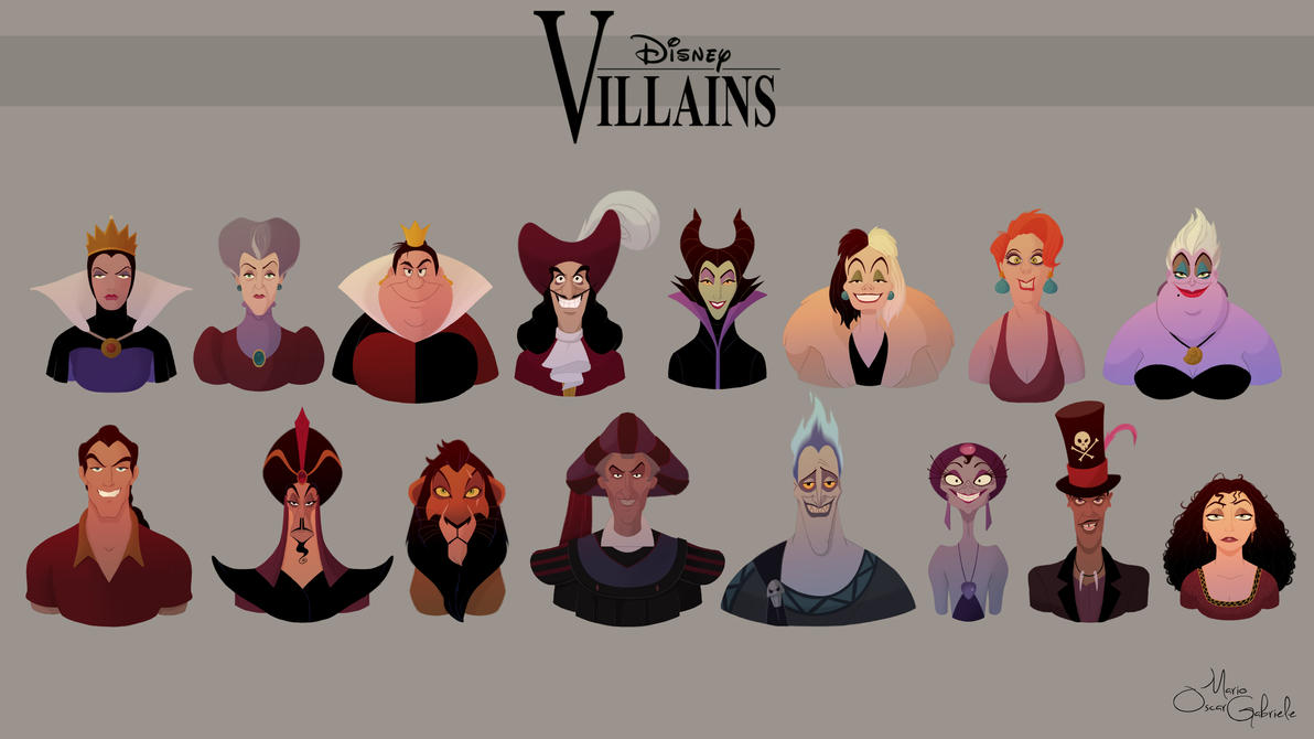 Cartoon Characters With 5 Letters In Their Name : Disney villains collection work in progress by