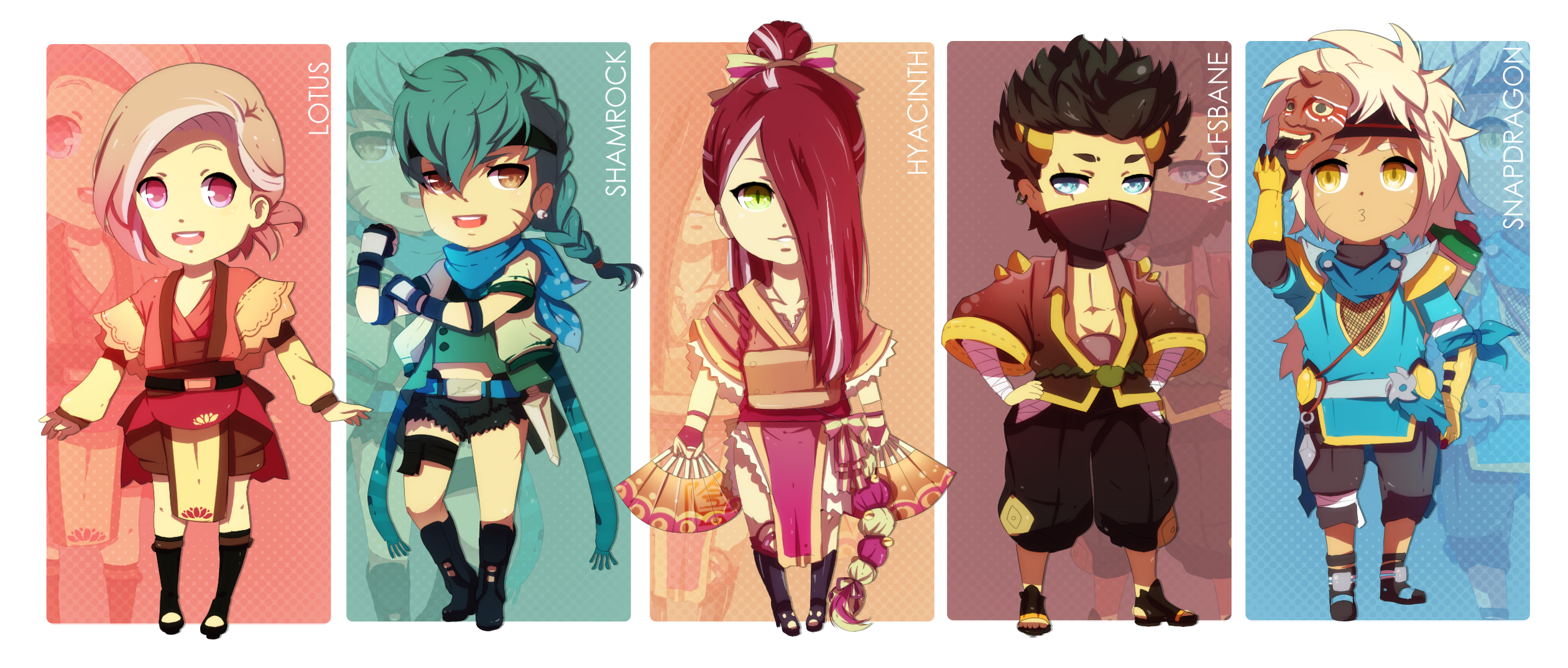 [POINT] Chibi Ninjas Adoptables Set by PANDEK0K0