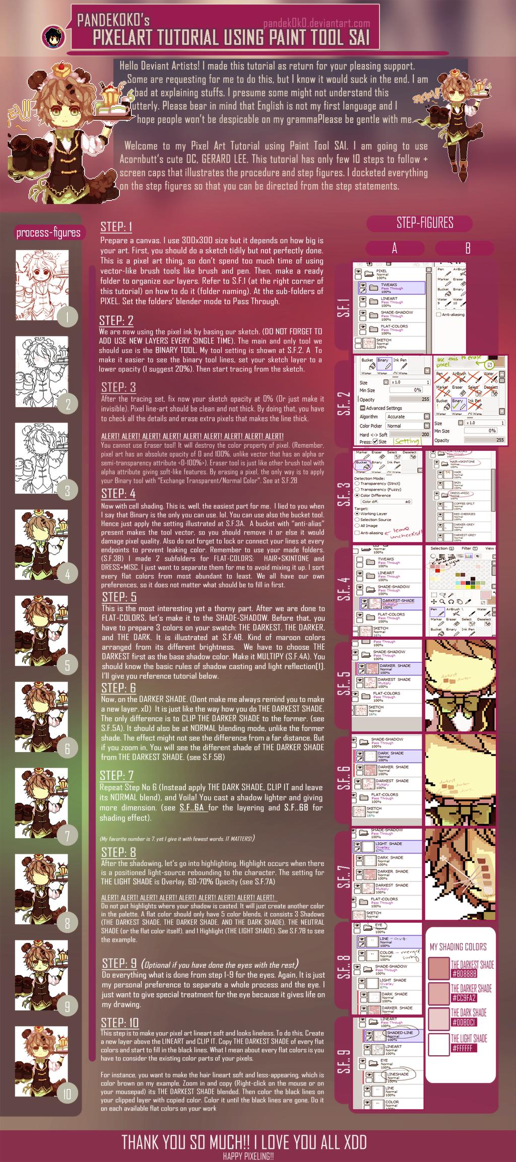 Pixel Art Tutorial Using Paint Tool Sai + File By Erdjie