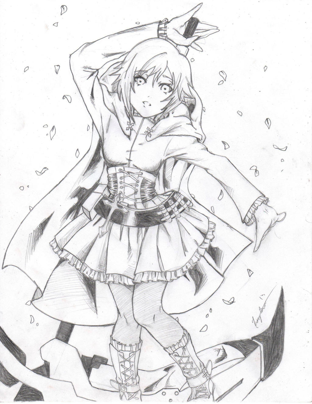 rwby ruby sketch done by lovedark334 on deviantart