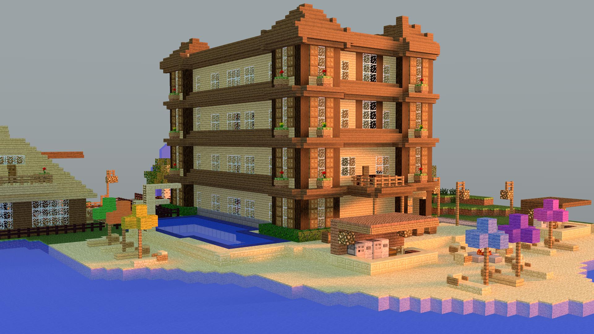 Minecraft Beach Hotel by TheJustMine