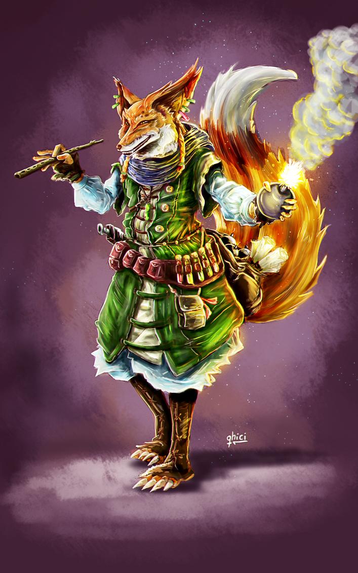 Kitsune-Alchemist-Bard by qhici