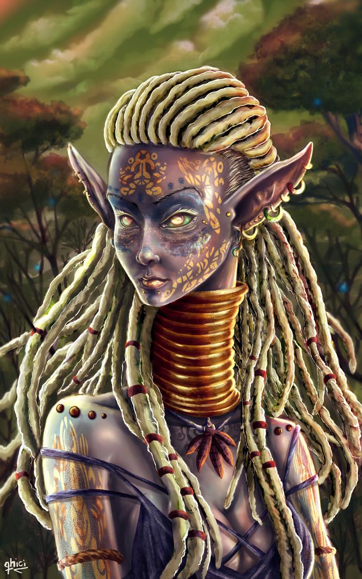 Tribal Dark Elf by qhici