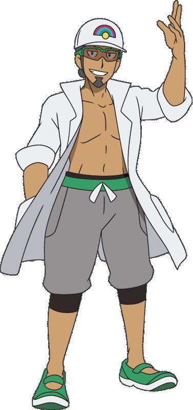 professor kukui sun moon anime by pokemonsketchartist on