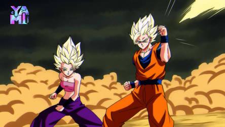 Goku vs Caulifla - by GoldennYami by Yamivisualkei