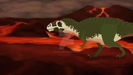 Acrocanthosaurus over lava