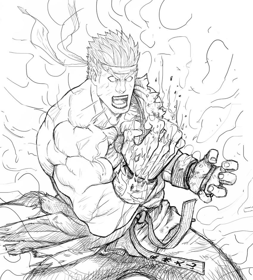 Evil ryu sketch by sagatt on deviantart for Ryu coloring pages