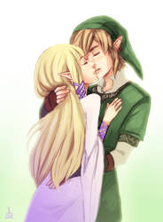 Skyward Sword: Kiss by Renuski
