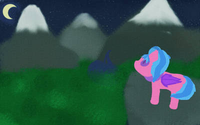 Mountains at night with pony
