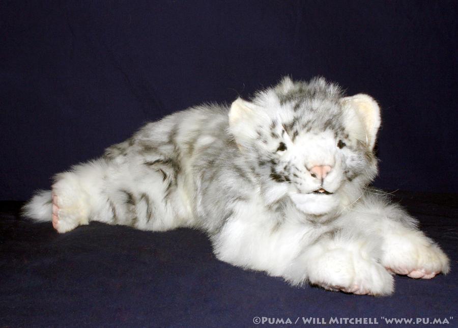 Hansa - White floppy Tiger cub plush