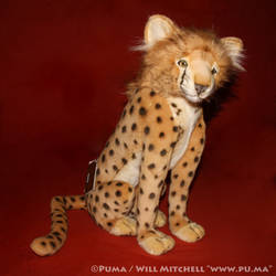 Hansa - Sitting Cheetah cub plush
