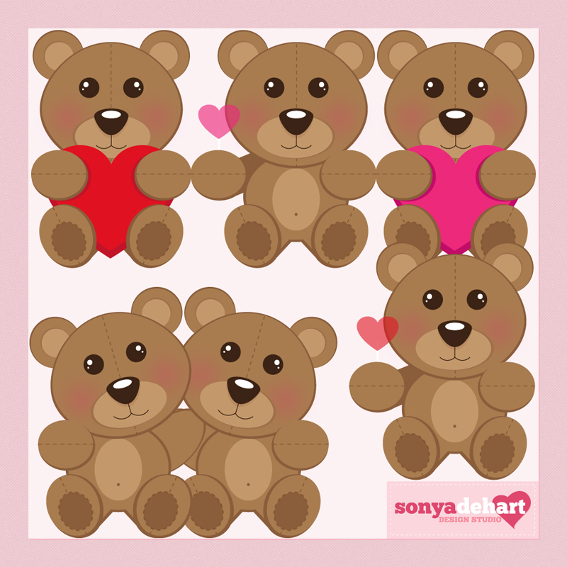 Clip Art Valentine's Day Teddy Bears by sonyadehart on DeviantArt