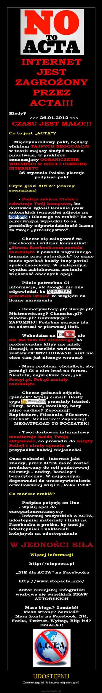 SAY NO FOR ACTA ! by xMidziak