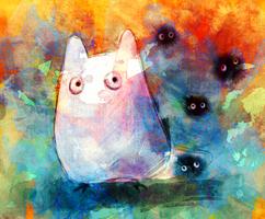 Chibi Totoro and Dust Bunnies.