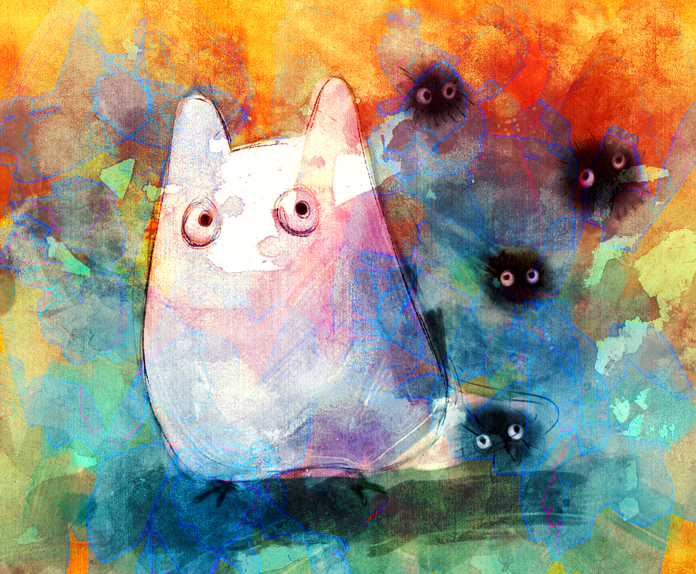 Chibi Totoro and Dust Bunnies. by MzzAzn