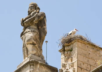 stork on a church 2 by archaeopteryx-stocks