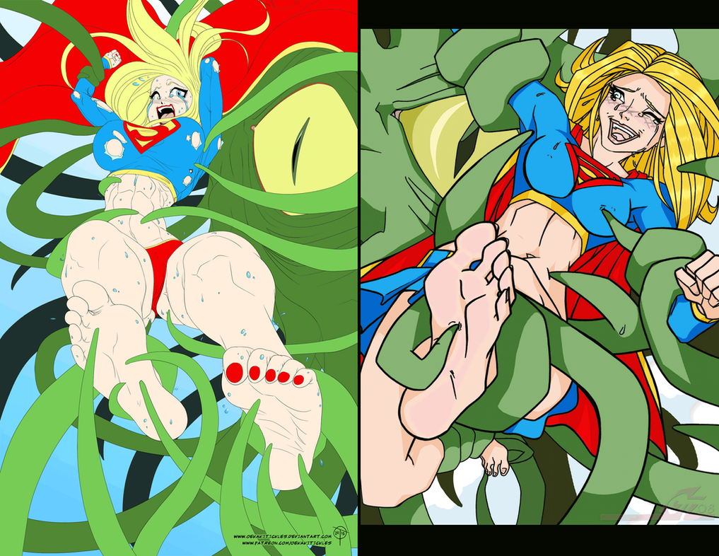 Super Girl Tickled WIP Comparison by OekakiTickles