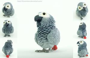 African Grey Parrot Sculpture