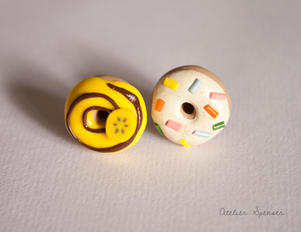 Mismatched Donut Earrings - Banana and Sprinkles by MaverickMae