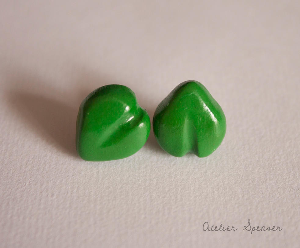 Green Leaf Stud Earrings by MaverickMae